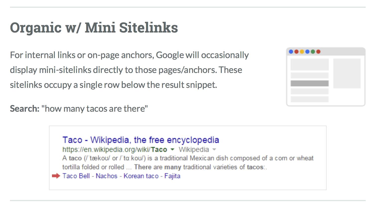 google serp links