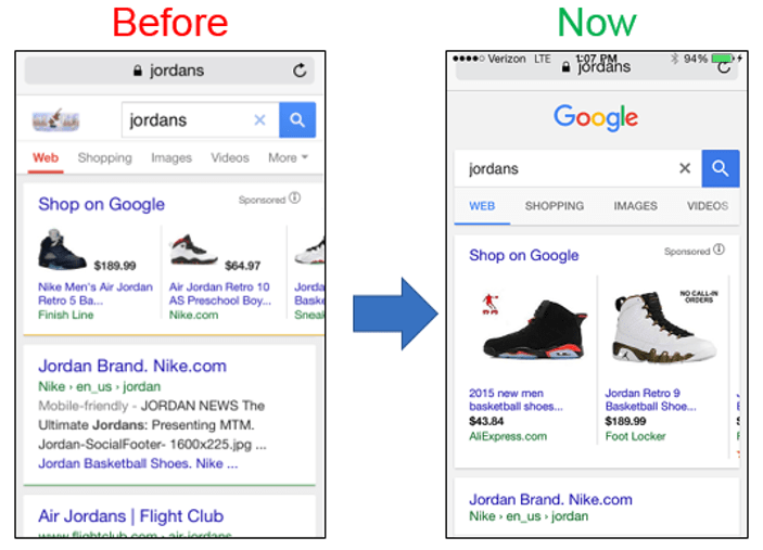 google mobile serp changes