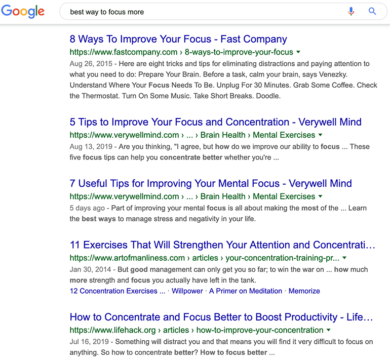 informational search query