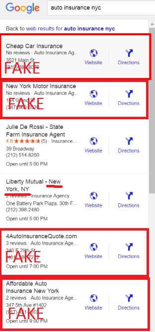 auto insurance SERP manipulation