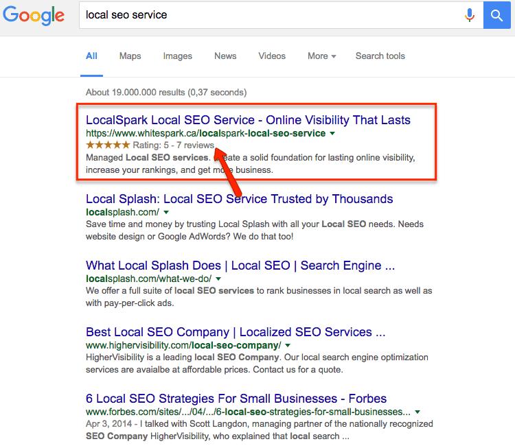 google local serps stars