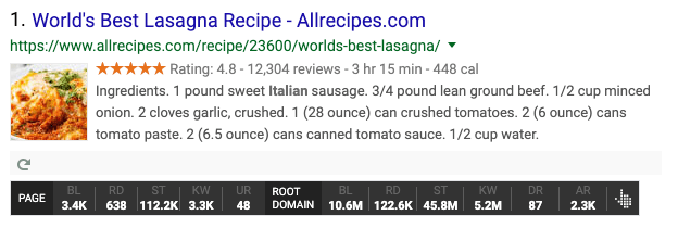 example of recipe structured data