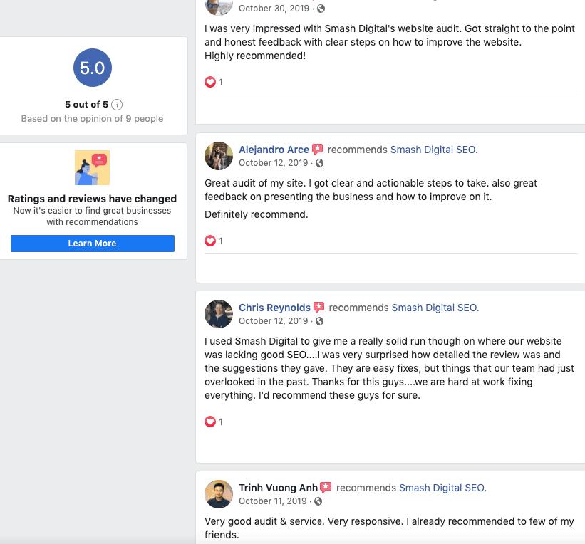Screenshot of Facebook Reviews for Smash Digital