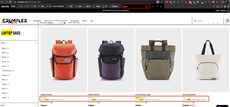 overoptimized ecommerce category pages