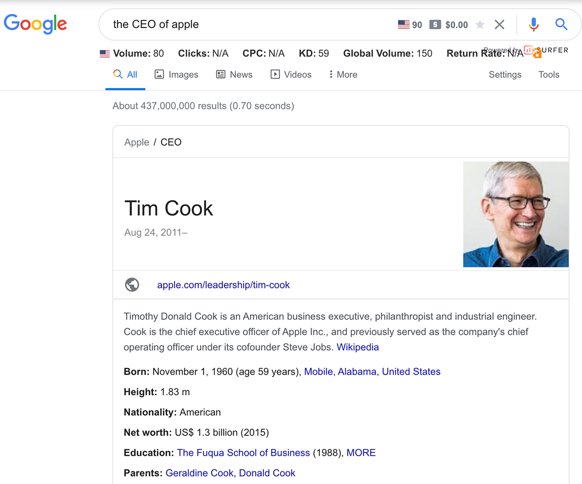 Google knowledge panel example