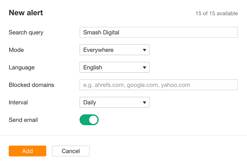 setting up mention tracking in ahresf - google alerts alternative