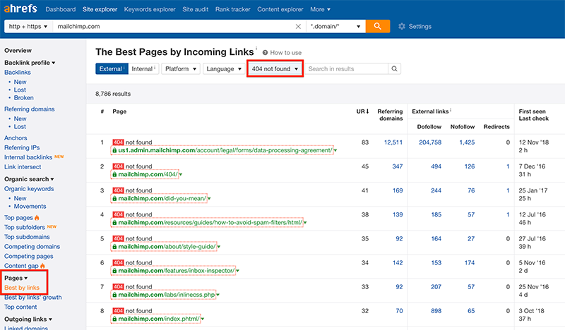 using ahrefs to find broken pages on a website