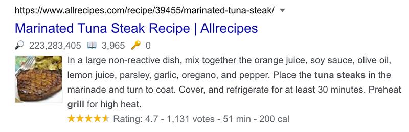 example of recipe schema in google
