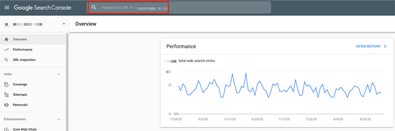 google search console inspect url feature