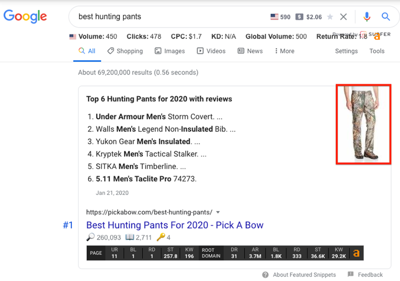 images within featured snippet results