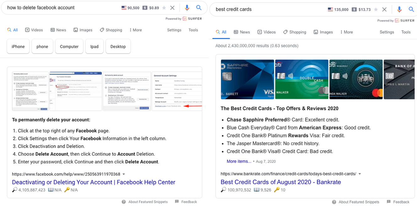 list based featured snippet examples