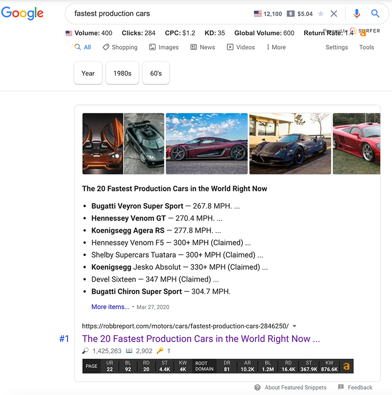 wrong featured snippet type being displayed
